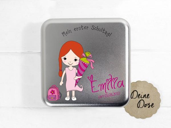 personalisierte Geschenkdose zur Einschulung für Mädchen