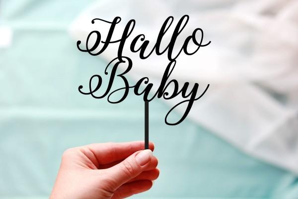 Tortenstcker Hallo Baby in Wunschfarbe