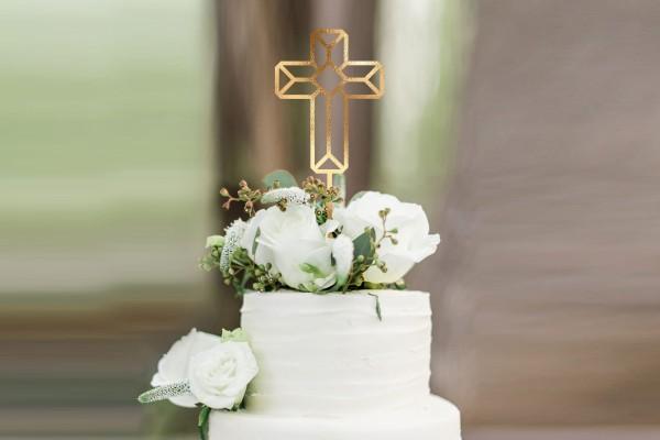 Cake Topper Kreuz Kuchenstecker grafisch farbig oder gold silber