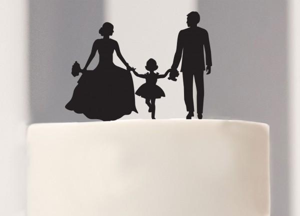 Caketopper Brautpaar mit Mädchen als Silhouette