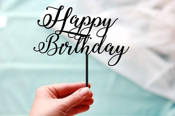 Cake Topper Happy Birthday Schriftzug mit Spieß