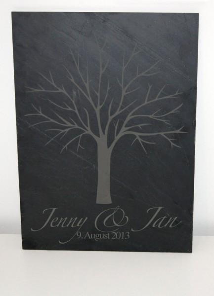 Personalisierter Wedding Tree auf Schieferplatte mit Stempelkissen