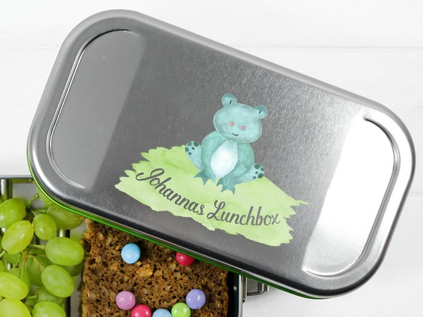 Brotdose Lunchbox mit Name und Frosch