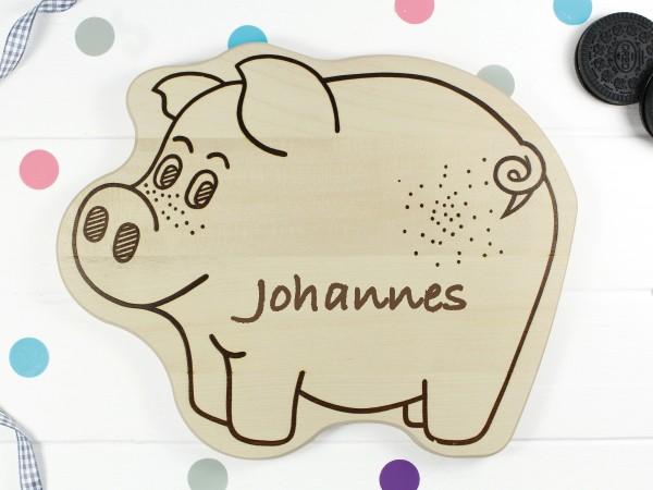 Kinderbrettchen Schwein Ferkel