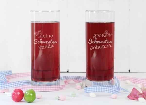 Personalisiertes Glas Set, Grosse Schwester - Kleine Schwester