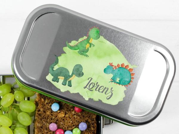 Dinopark auf Brotdose mit Namen