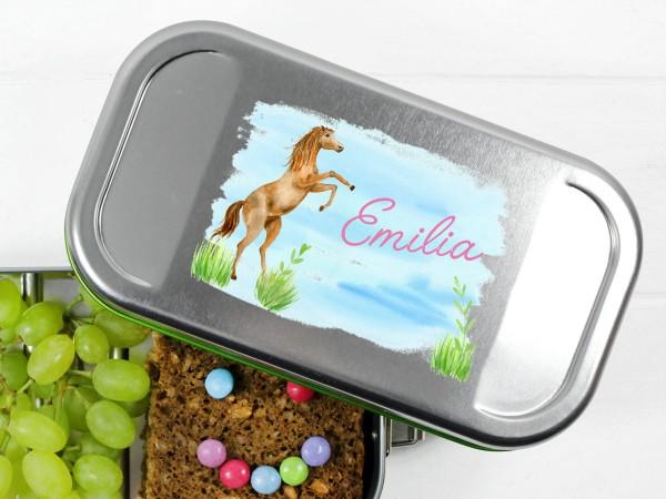 Brotdose Lunchbox mit Name springendem Pferd