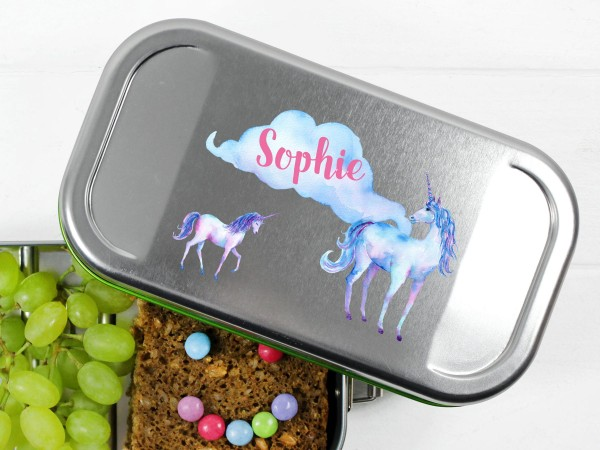 Brotdose Lunchbox mit Name Einhorn und Wolke