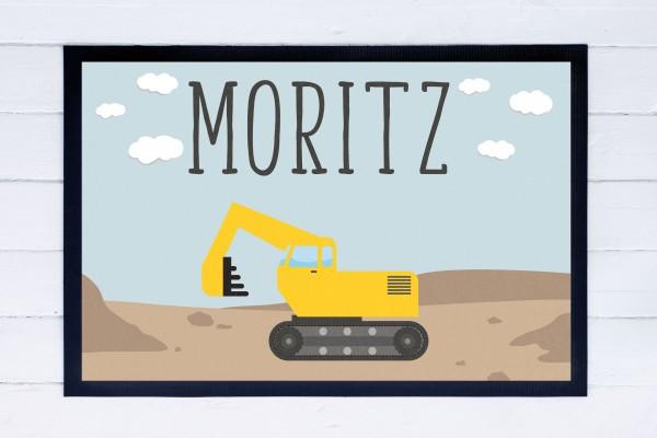 Fußmatte oder Spielmatte mit Motiv Bagger und Namen personalisiert
