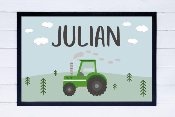 Fußmatte oder Spielmatte mit Motiv Traktor und Namen personalisiert