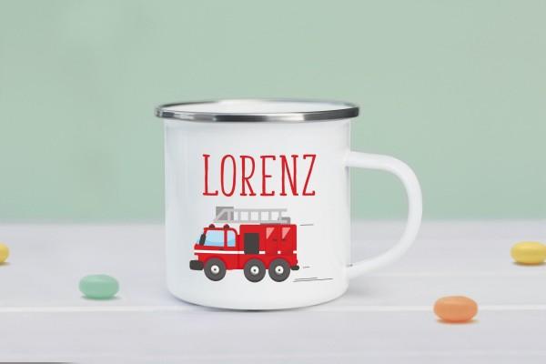 Emaille Tasse Feuerwehrauto mit Namen personalisiert