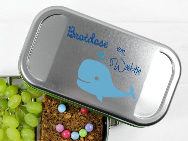 Brotdose Lunchbag mit Namen personalisiert und Wal in blau