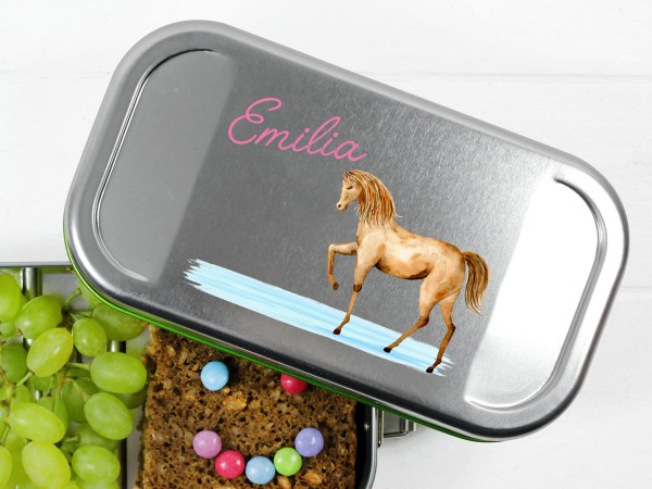 Pferdebrotdose Lunchbox mit Namen personalisiert