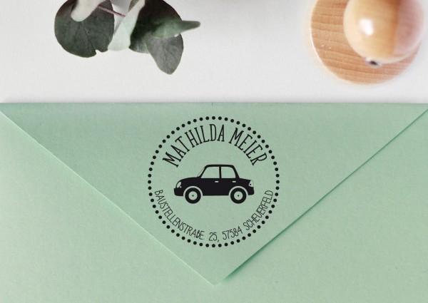 Kinderstempel Adressstempel mit Auto personalisiert, Rand gepunktet
