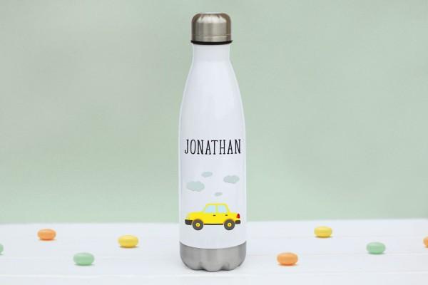 Thermoflasche Edelstahl Auto mit Namen personalisiert