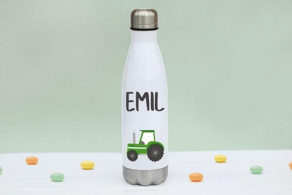 Thermoflasche Edelstahl Traktor mit Namen personalisiert