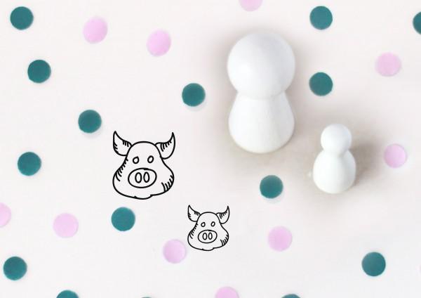 Kleiner Stempel mit Motiv: Schweinskopf