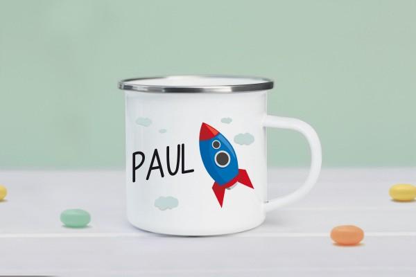 Emaille Tasse mit Rakete und Namen personalisiert