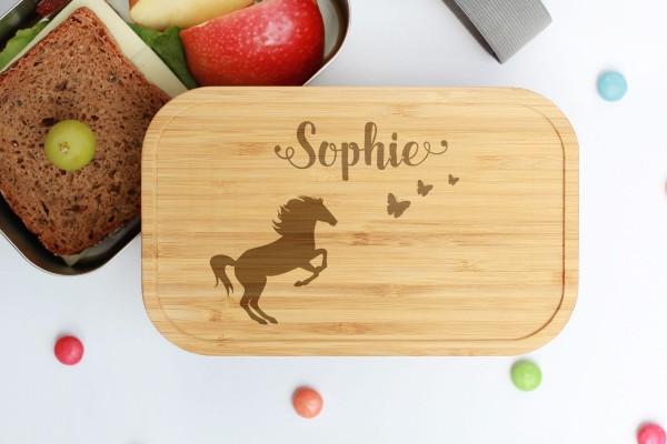 Nachhaltige Lunchbox aus Edelstahl mit Bambusdeckel Pferd mit Schmetterlingen