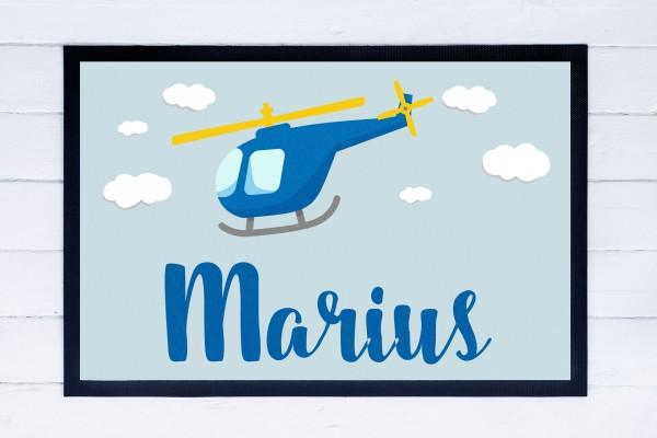 Fußmatte oder Spielmatte mit Motiv Helikopter und Namen personalisiert