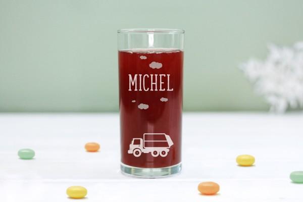 Trinkglas Kinderglas mit Müllauto und Namen, personalisiert