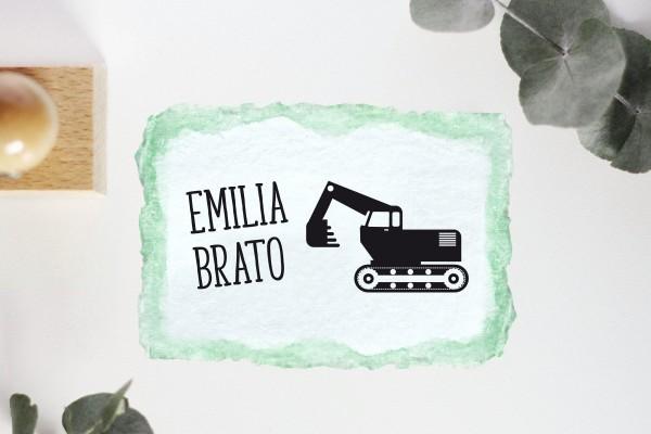 Kinderstempel Namensstempel mit Bagger personalisiert