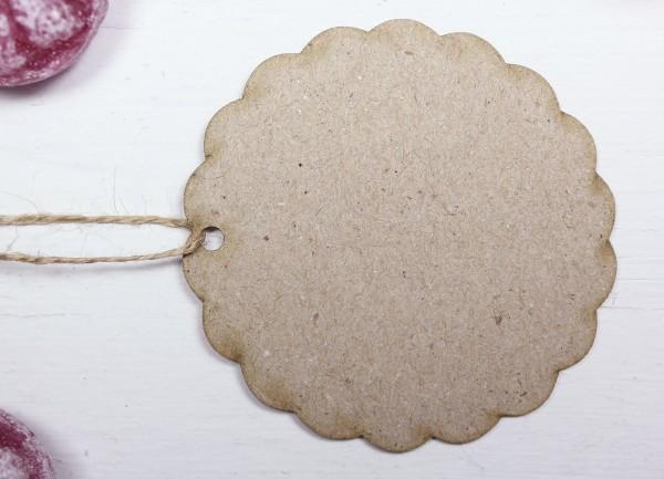 50 St. 65ø Geschenkanhänger, gewellt rund