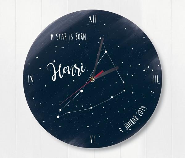 Sternzeichen Sternenhimmel Uhr mit Name und Datum Steinbock