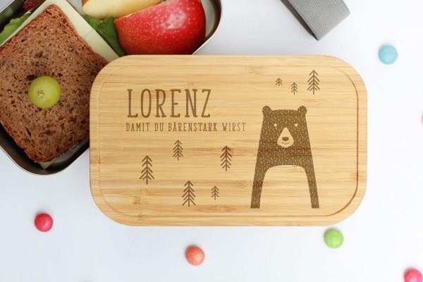 Nachhaltige Lunchbox aus Edelstahl mit Bambusdeckel Bär