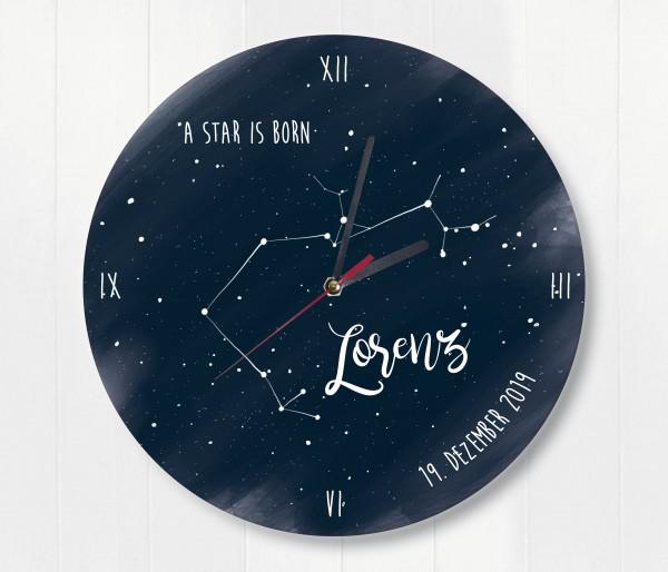Sternzeichen Sternenhimmel Uhr mit Name und Datum Schütze