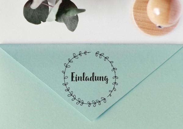 """Stempel mit Spruch """"Einladung"""", mit Blätterkranz"""