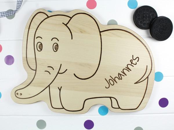 Kinderbrettchen Elefant mit Namen