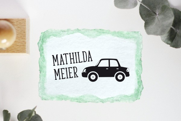 Kinderstempel Namensstempel mit Auto personalisiert