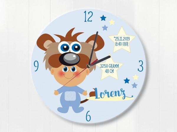 Wanduhr Geburtsdaten Geschenk Löwe Sternzeichen für Jungen