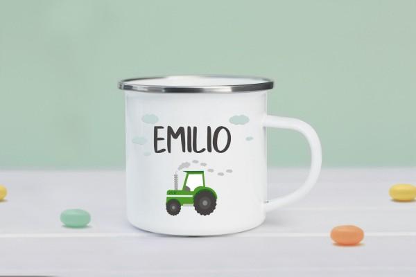 Emaille Tasse mit Traktor und Namen personalisiert