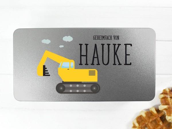 Spielzeugdose mit Motiv Bagger und Wunschtext personalisiert