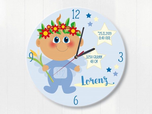 Wanduhr Geburtsdaten Geschenk Jungfrau Sternzeichen für Jungen