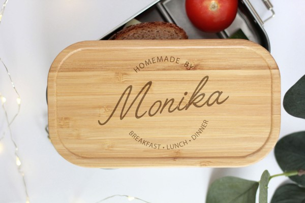 Nachhaltige Brotdose Name und Spruch graviert Bambusdeckel