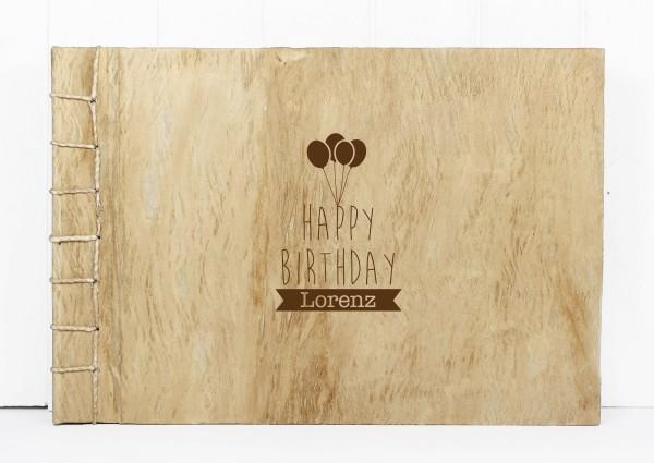 """Holzbuch """"Happy Birthday"""" Holz L"""