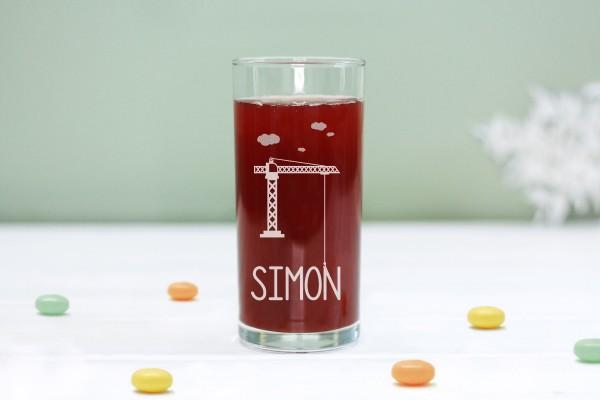 Trinkglas Kinderglas mit Kran und Namen, personalisiert