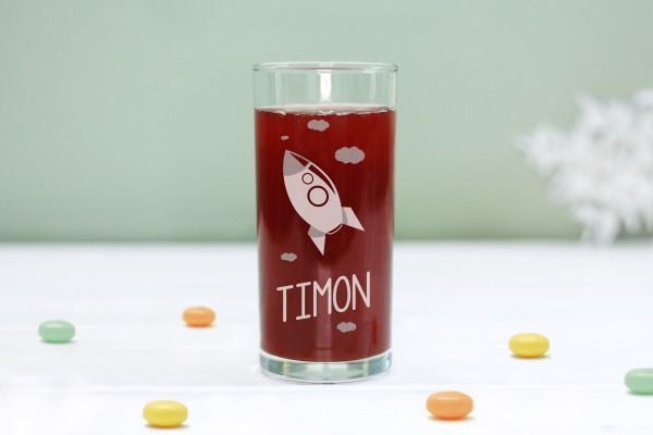 Trinkglas Kinderglas mit Rakete und Namen, personalisiert