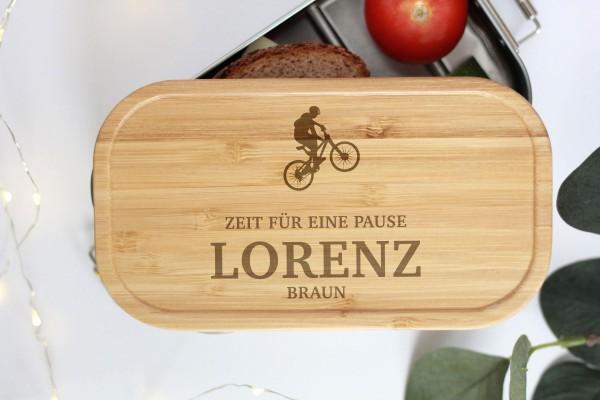 Nachhaltige Brotdose Name und MTB Fahrrad Biker