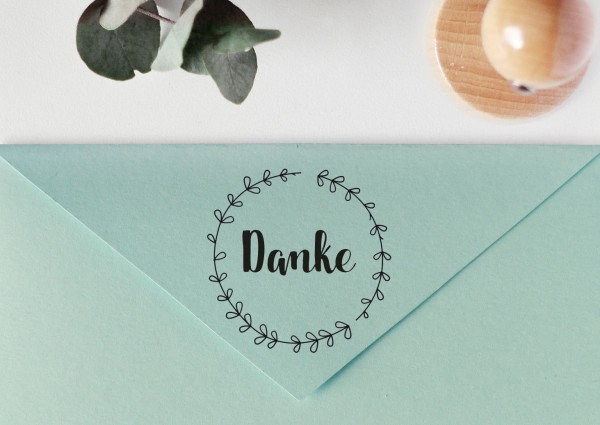 """Stempel mit Spruch """"Dankeschön"""", mit Blätterkranz"""