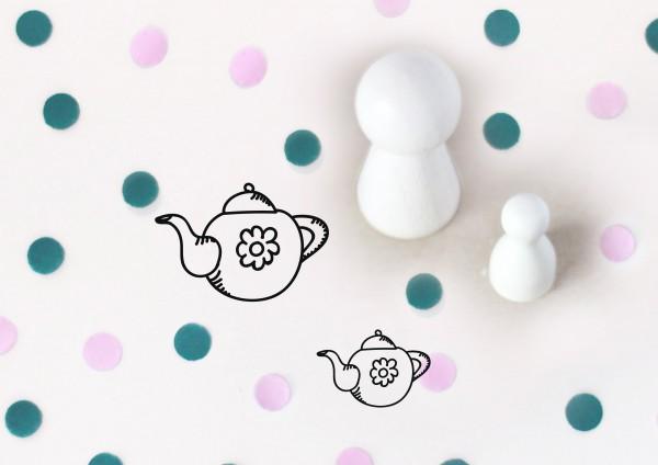 Kleiner Stempel mit Motiv: Teekanne