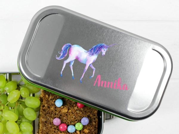 Brotdose Lunchbox mit Name Einhorn