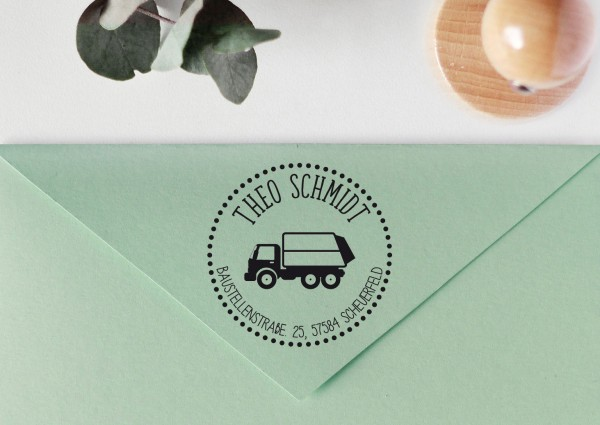 Kinderstempel Adressstempel mit Müllauto personalisiert, Rand gepunktet
