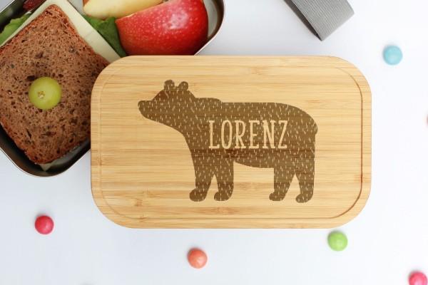 Nachhaltige Lunchbox aus Edelstahl mit Bambusdeckel großer BÄR