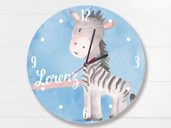 Wanduhr für Kinder mit Namen und Tier Zebra