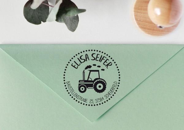 Kinderstempel Adressstempel mit Traktor personalisiert, Rand gepunktet