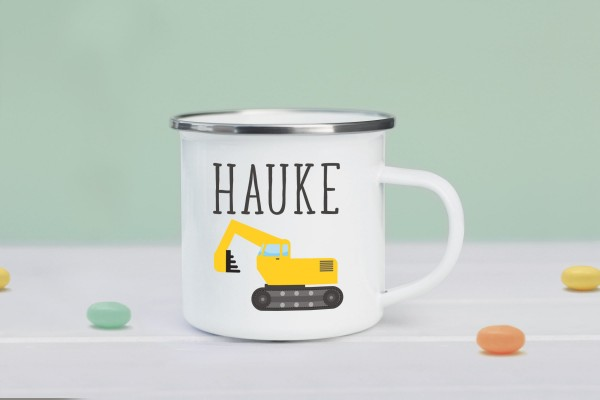 Emaille Tasse Bagger mit Namen personalisiert